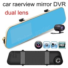 On sale hot sale with rear camera car video recorder HD rearview mirror driving recorder big wide angle dual lens DVR 4.3 inch screen