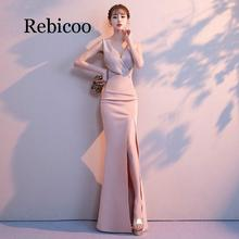 Rebicoo 2019 new formal sexy V-neck evening dress long section ladies fishtail slim sequin