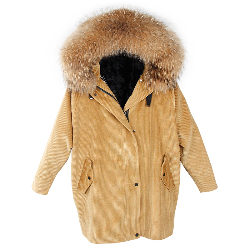 MaoMaoKong New brand fur coat coat winter jacket lady corduroy large real raccoon fur collar warm natural lamb fur lining coat 2017 winter new clothes to overcome the coat of women in the long reed rabbit hair fur fur coat fox raccoon fur collar