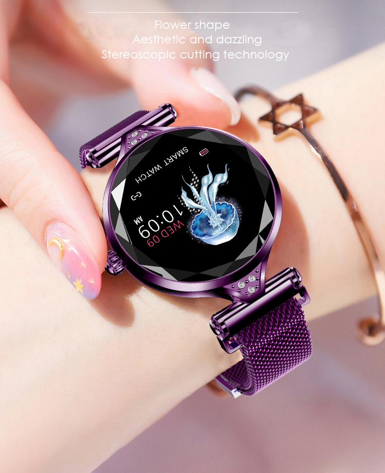 H1 Moda para mujer Smartwatch Dispositivo portátil Bluetooth Podómetro Monitor de ritmo cardíaco Reloj inteligente para AndroidIOS Pulsera inteligente (4)