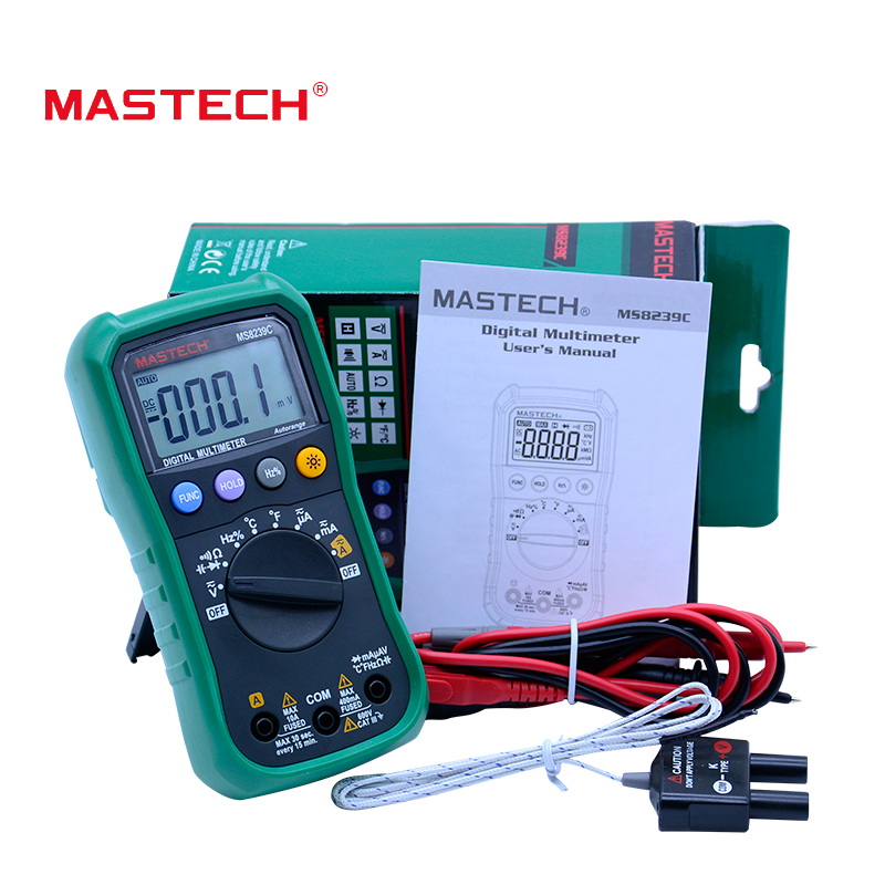 MASTECH MS8239C Digital Multimeter AC DC Voltage AC Current Capacitance Frequency Temperature Tester Auto range multimetro 3 3/4 mastech ms2015b 6600 counts 1000a ac clamp meters w capacitance frequency temperature