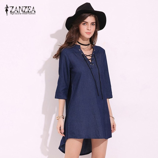 Zanzea Womens 34 Sleeve Lace Up Mini Dress Plus Size Denim Blue