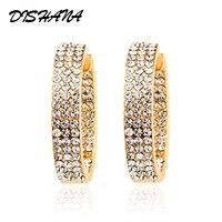 Thời trang Big Vòng Rhinestone Hoop Earrings Thanh Lịch Đơn Giản Xỏ White Gold/Vàng 2 Colors Cho Đảng Đồ Trang Sức Mỹ (E0085)