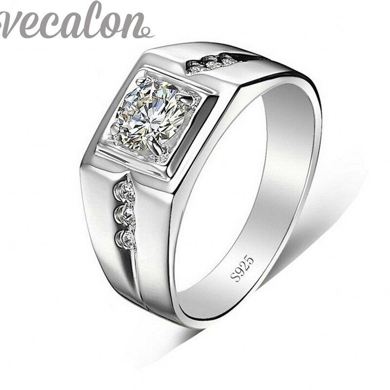 Vecalon Handmade wedding Band anel para Homens 1ct 5A Zircão cz 925 anel de Prata masculino anel de Noivado Dedo moda Jóias R332