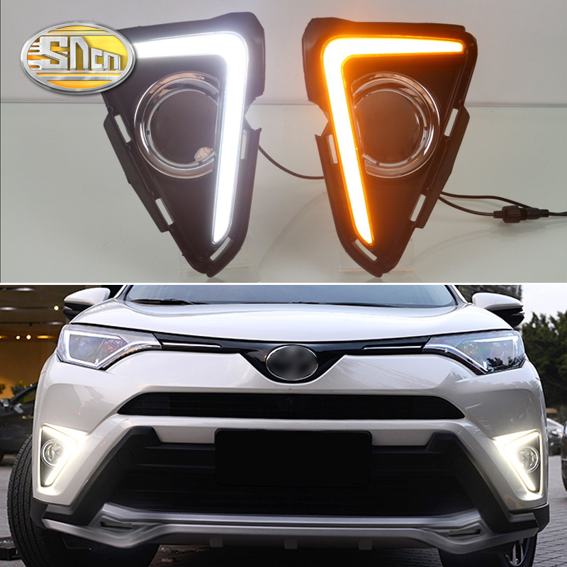 2PCS LED Daytime Running Light For Toyota RAV4 2016 2017 2018 Yellow Turn Signal Function 12V Car DRL Fog Lamp Decoration