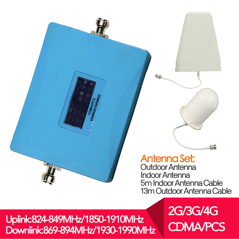 mobile signal repeater celullar booster 850 1900Mhz 3G repeater 62db repetidor amplificador with full antenna set for home usemobile signal repeater celullar booster 850 1900Mhz 3G repeater 62db repetidor amplificador with full antenna set for home use