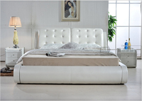 High quality factory price royal large king size Genuine leather soft bed bedroom furniture soft bed 0826