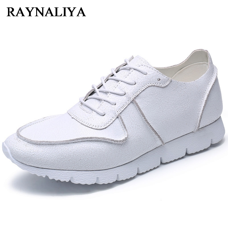 2018 New Genuine Leather Fashion Lace Up Round Toe Comfort Casual Loafer Shoes White And Black Men Board Shoes BH-A0034 men leather shoes 2016 new men s fashion genuine leather lace up casual shoes black brown khaki leisure flats