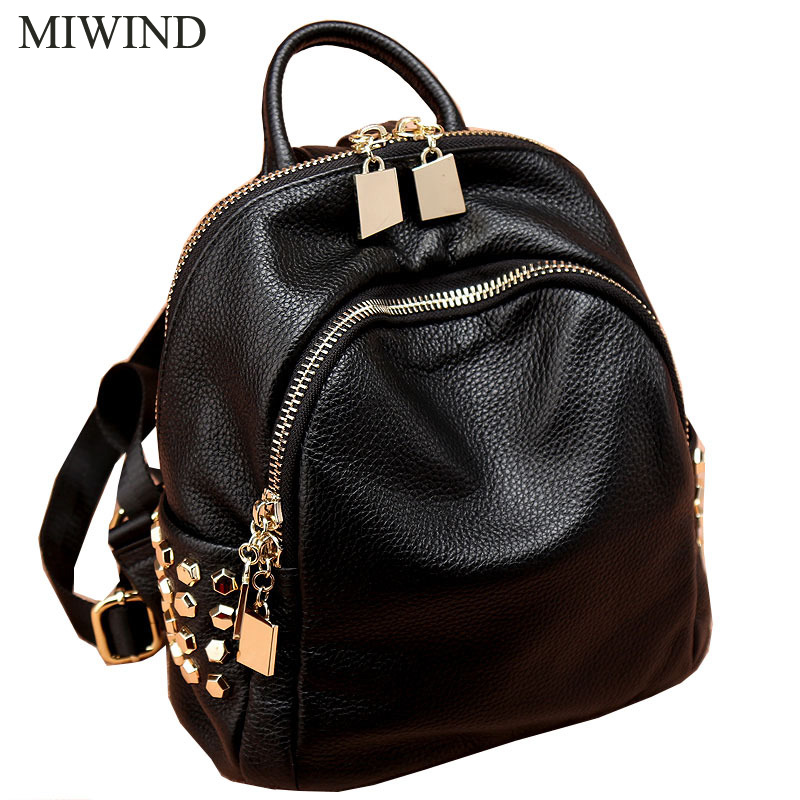 Free Shipping MIWIND Women Cow Leather Backpacks Softback Bags Brand Name Bag Casual Fashion Backpacks Girls Backpack WUB062 free shipping classic women palm springs backpack bag fashion brand canvas real leather bagsa
