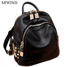 Бесплатная доставка miwind женщин телячья кожа рюкзаки softback сумки Производитель сумка Повседневная мода рюкзаки девушки рюкзак WUB062