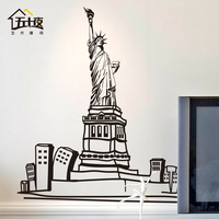 Statue of Liberty Vinyl Wall Decal USA Fashion Skyline Lady Liberty Mural Art Wall Sticker Living Room Bedroom Home Decoration