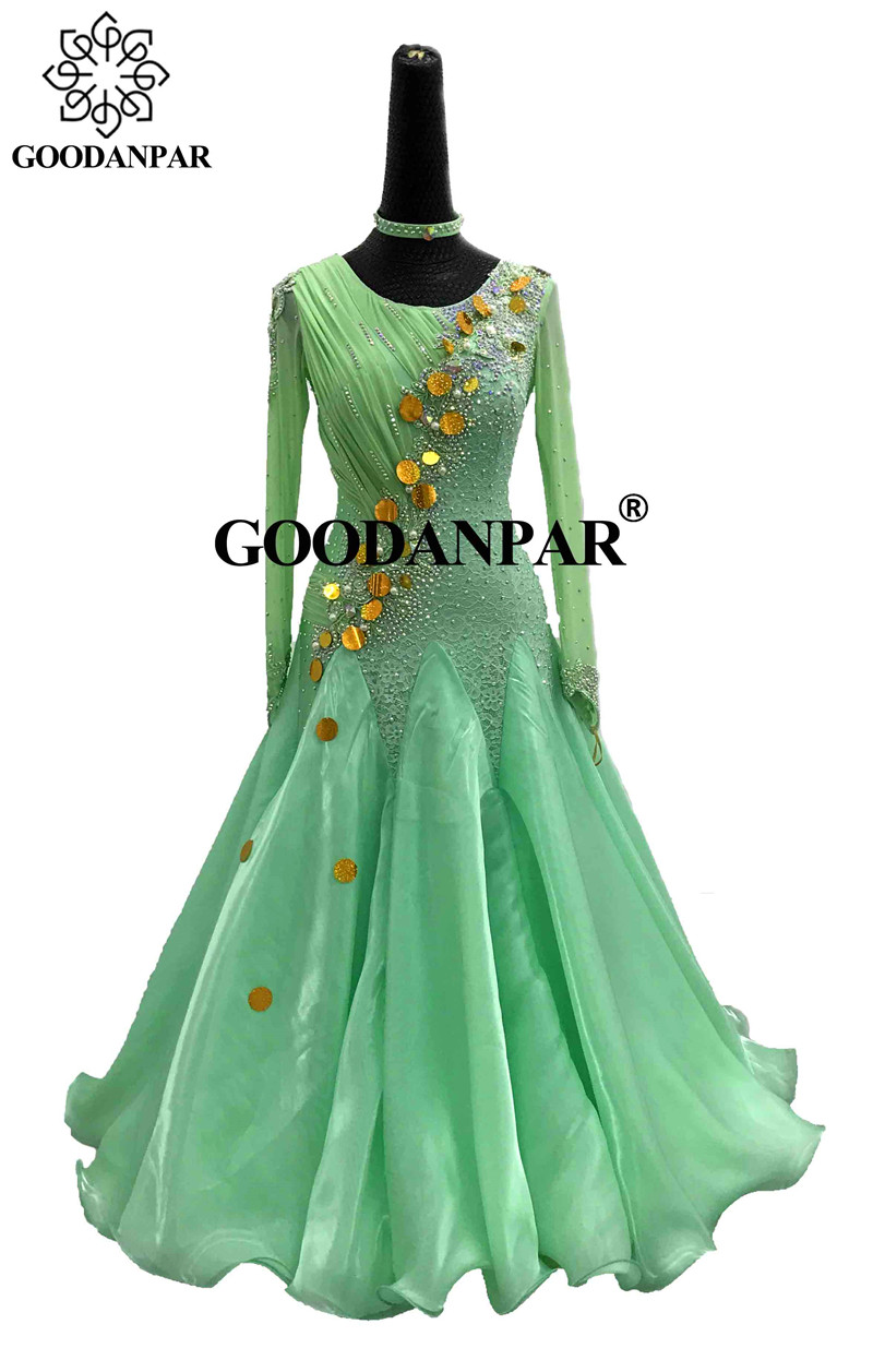 GOODANPAR Elegant Backless Ballroom Dance Dress For Women Long Sleeve Delicate Stones Dance Competition Green