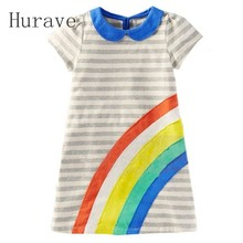 Hurave Girl Dress Summer 2017 Baby Girls Clothes Striped Girls Dresses Children Clothes Casual Girl Clothing
