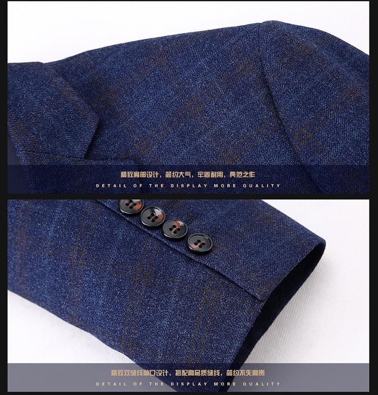 2017 8XL 6XL 5XL 4XL весенне осенний мужской повседневный костюм приталенный Блейзер мужской костюм куртка Повседневная Деловая мужская хлопковая ... - 5