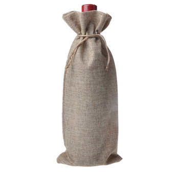 50 pcs 15x35cm Single stamping jute wine bottle bags for Party wedding bomboniere as Gift