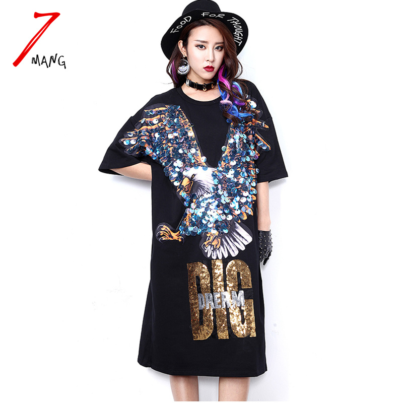 7mang 2018 spring summer women novelty black animal eagle sequins straight dress short sleeve loose long tee dress