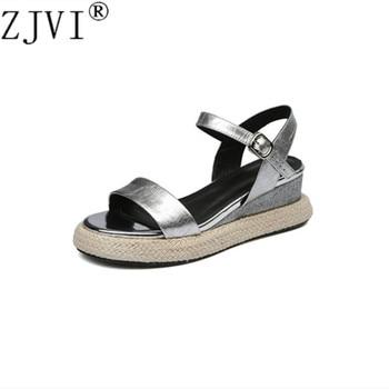 ZJVI women patent leather summer platform sandals woman fashion flats wedges heels shoes sandalias mujer 2019 black ankle strap