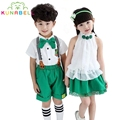 Kids Summer School Uniform Class Suit T-shirt Skirt Bib Pants 2pcs Sets Baby Boy Girl Choral Uniforms Children Clothing Set C001