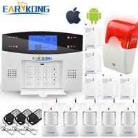Wireless Wired PSTN GSM Alarm System 99 Wireless 4 Verdrahtete Zonen Unterstützung Relais Ausgang Smart Home Control Unterstützung Android IOS APP-in Alarm System Kits aus Sicherheit und Schutz bei