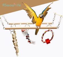 Parrot Tiger Skin Starling Supplies Climbing Ladder Swing Bite Toy Bird Cage Stand Standing Bar Bird Cage Decoration Supplies 1 pcs birds stand swing wood sepak takraw bite swing standing bar for medium big parrot parrotlet chewing ball bird toy supplies
