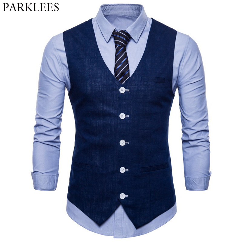 Mens Slim Fit Single Breasted Suit Vest 2018 Brand New Formal Dress Business Wedding Vest Waistcoat Men Solid Color Gilet Homme-in Vests from Men's Clothing
