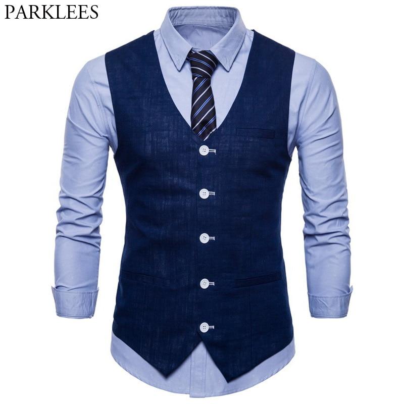 Mens Slim Fit Single Breasted Suit Vest 2018 Brand New Formal Dress Business Wedding Vest Waistcoat Men Solid Color Gilet Homme