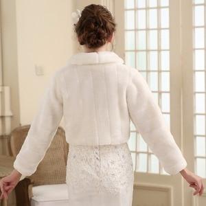 Image 2 - SHAMAI Fur Shawl Wedding Wrap women Winter Long Sleeve Lvory Bridal Jackets Married Outerwear Bride Cape Autumn Winter Jacket