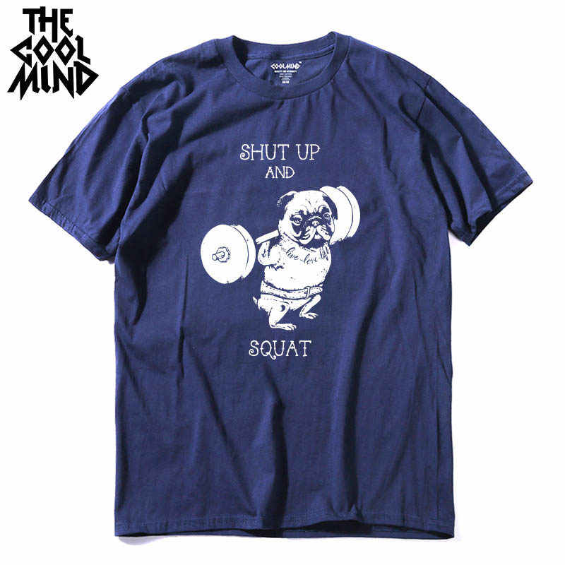 COOLMIND PU0117A 100% cotton casual o-neck knitted go home or go hard pug printed men T-shirt short sleeve summer men Tshirt tee