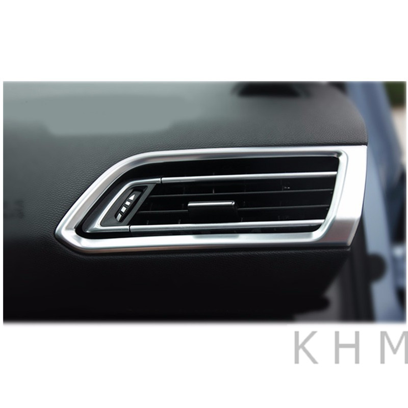 Car Accessories LR Air-conditioning Outlet Cover ABS Chrome Plate For Peugeot 308 Rear View 5door 2015 2016