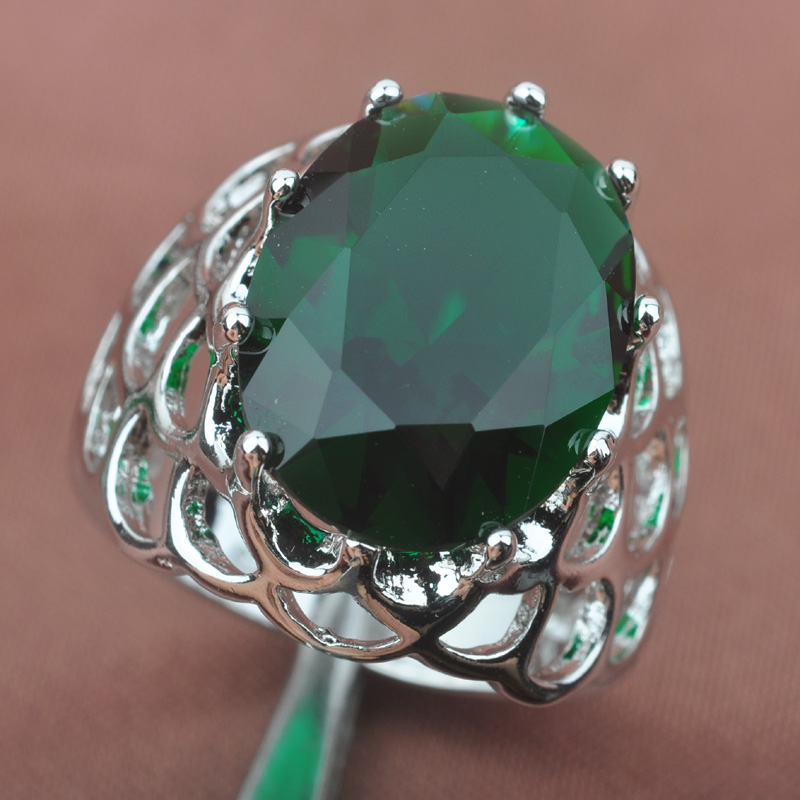 Superb Green Stone Stamped 925 Silver For Women Jewelry Rings Free Shipping Size 6 7 8 9 SA008