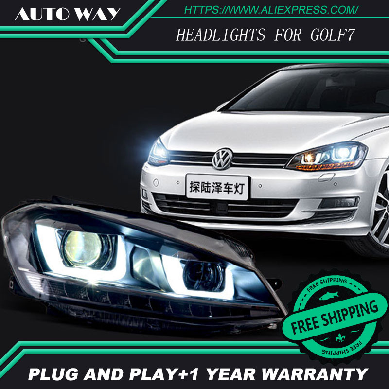 Free shipping ! Car styling LED HID Rio LED headlights Head Lamp case for VW Golf 7 Golf7 VW MK7 2014 Bi-Xenon Lens low beam ароматизатор подвесной russian sport кимоно новая машина