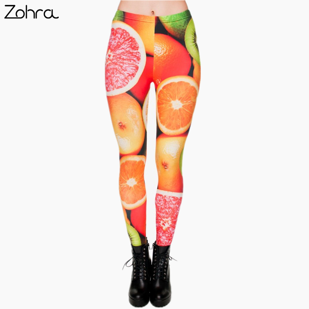 Zohra Brand Fashion Fruit Citrus 3D Printing Legging Punk Women Legging Stretchy Trousers Casual Leggings Woman Pants