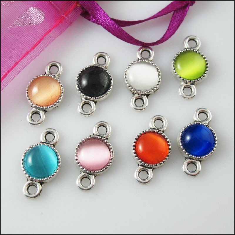 8Pcs Mixed Retro Tibetan Silver Tone Acrylic Oval Charms Pendants 9x16.5mm