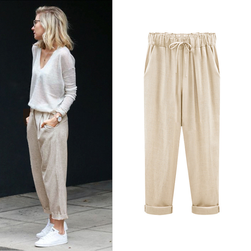 modern techniques compare price new high quality US $18.01 8% OFF|Women Summer Cotton Linen Ankle Length Harem Pants Plus  Size 6Xl Elastic Waist Trouser Ladies Black Capris Pants-in Pants & Capris  ...