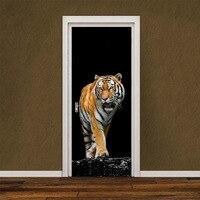 2 Pcs Set Imitation 3D Decal Ferocious Tiger Door Wall Stickers DIY Mural Poster PVC Door