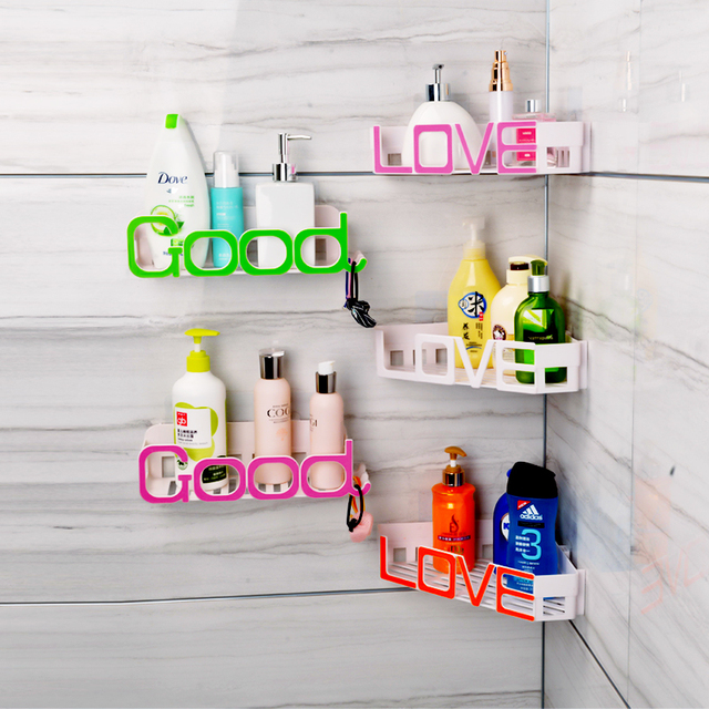 Us 14 4 10 Off Hot Letter Design Wall Mounted Bathroom Shelf Decorative Corner Shelf Shampoo Holder Storage Rack Bathroom Accessories In Bathroom