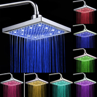 LED Colorful Shower Head Colorful Color Change Rainfall Shower Head Square Rain Top Shampoo Nozzle Spray Faucet Household 8 Inch