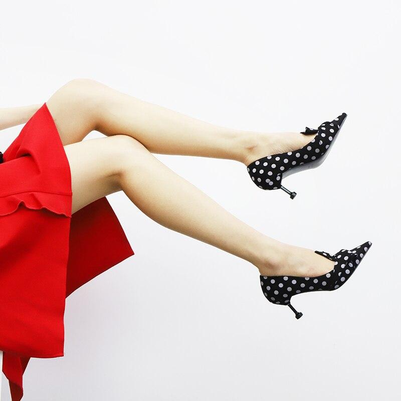 Mujer Hauts Sandalias Chaussures Pompes Brown Noir Pink noir Femmes Pointu Brun Rose À Stiletto Talons light Diapositives Sur Papillon Polka Dot Slip Bout Noeud aqnEZw0A