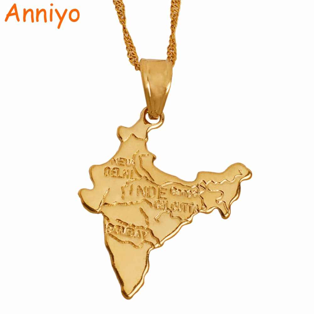 Anniyo The Republic of India Map Pendant Necklaces Chain Indian for Women Girl Gold Color Jewelry Hindu #006510