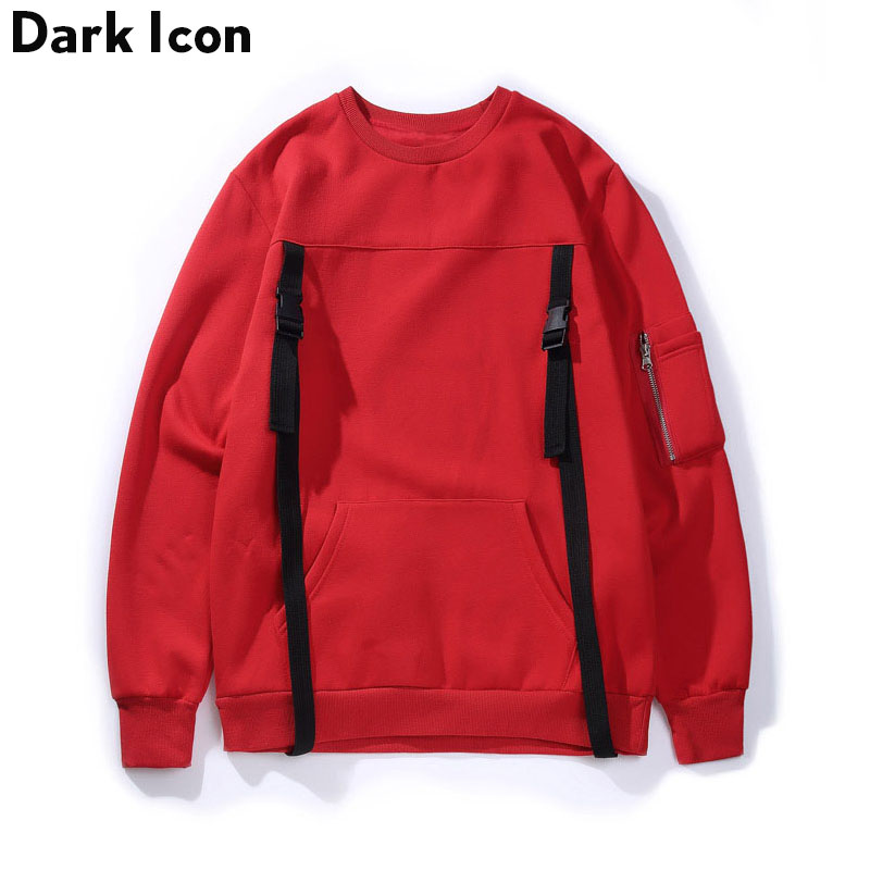 Ribbon Buckle Hi-street Mens Sweatshirt 2017 Winter Streetwear Fleece Sweatshirts Men Pu ...