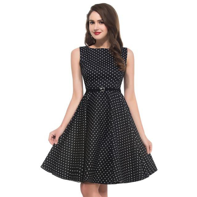 2017 New Design Retro Black Vintage Rockabilly Dresses Polka Dot