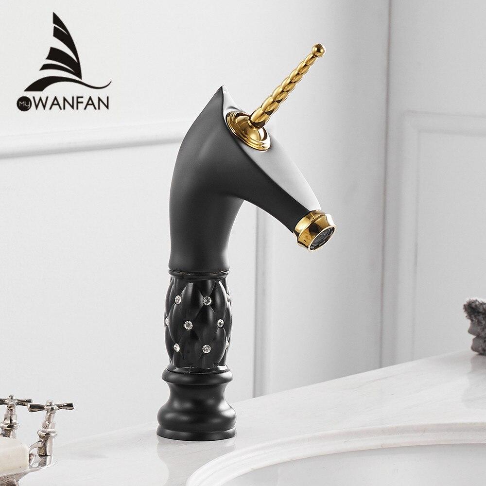 Basin Faucets Unique Fashion Bathroom Horse Head Faucet Black Brass Deck Mounted Single Long Handle Toilet  Mixer Taps 855755