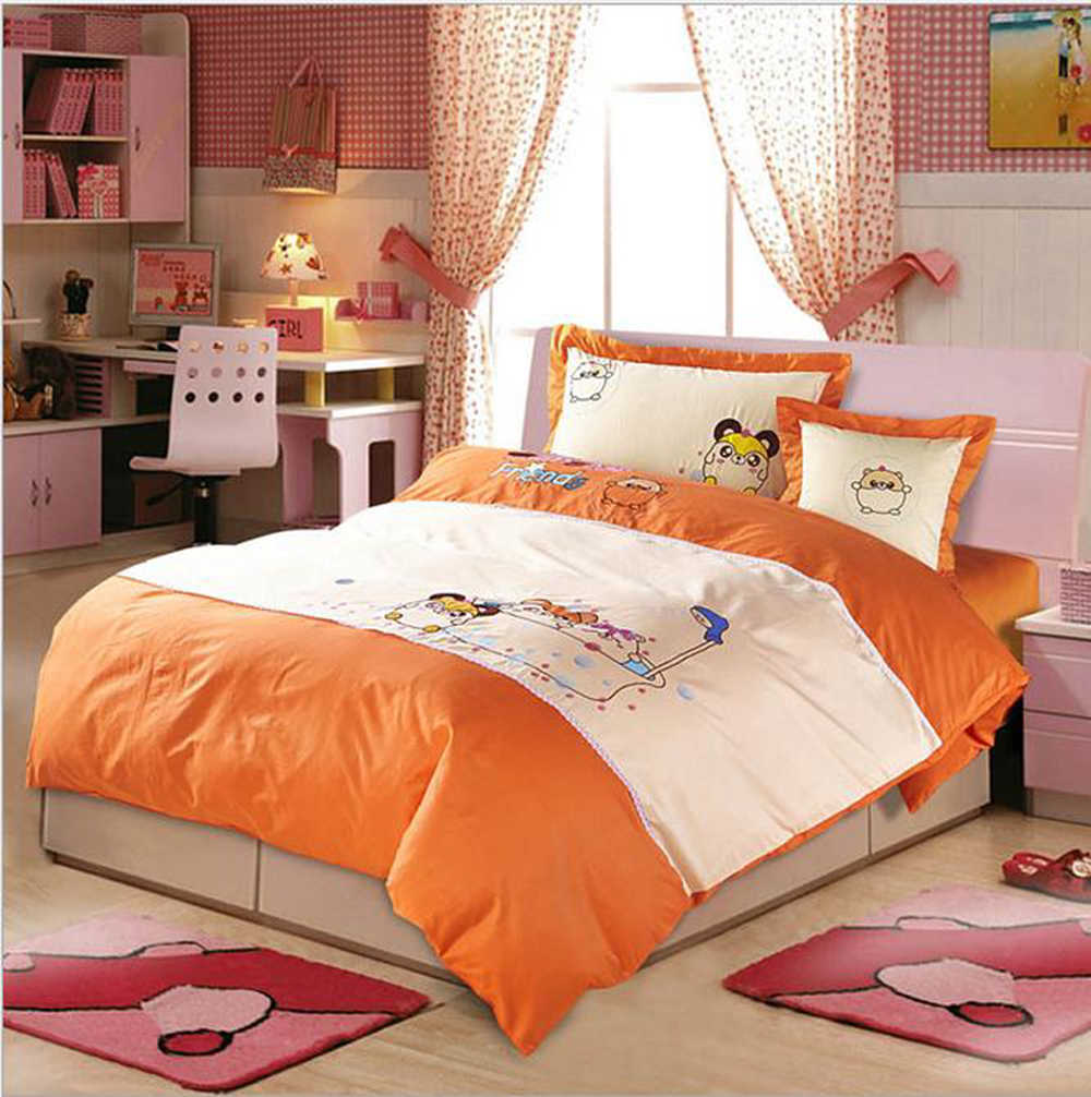 high end cartoon kids boy girl cotton 4pcs bedding sets duvet cover bed sheets set twin queen. Black Bedroom Furniture Sets. Home Design Ideas