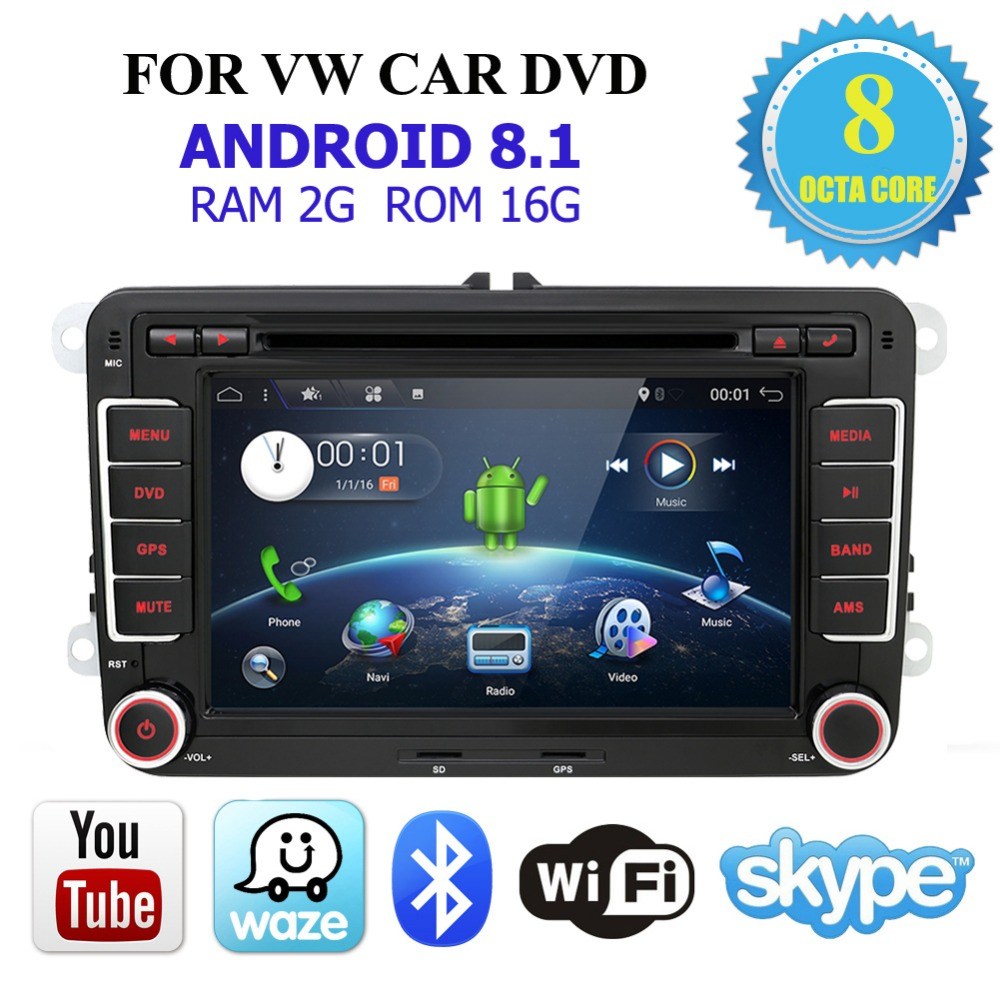 Car Multimedia player 2 Din Android 8 1 GPS For VW Golf Tiguan Skoda Fabia Rapid