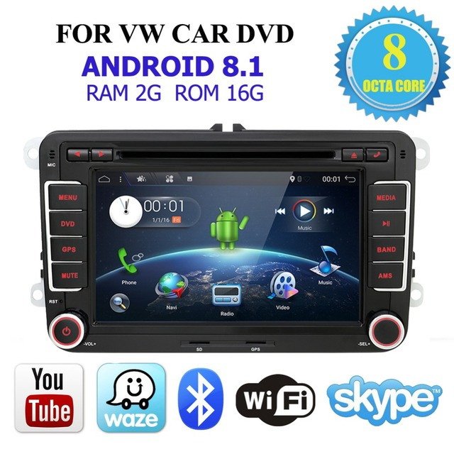 Car Multimedia player 2 Din Android 8.1 GPS For VW/Golf/Tiguan/Skoda/Fabia/Rapid/Seat/Leon/Skoda dvd automotivo fm free canbus