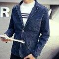 Осень весна человека формальные Businese синий джинсовый костюм воротник блейзер пальто, Мужской свободного покроя джинсы пиджаки, Стильные пальто для человека