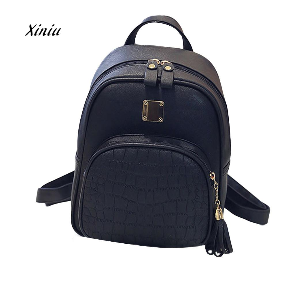 538d6c324dc7 2018 New Fashion Women PU Leather Backpacks Girl Tassel School Bag High  Quality Ladies Travel Bags