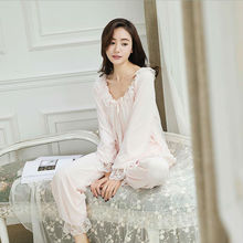 Women Pajamas Set Princess Long Sleeve Fashion Lace Bow Tie Solid Sleepwear Pajamas Pants Set Sweet Soft Daily HomeWear