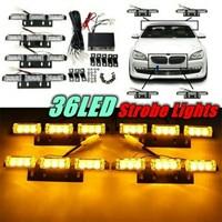 DC 12V Auto Car Truck Flash 4 X 9 LED Strobe Flash Light Amber Beacon Emergency Light Warning Light 36 LED With Retail Box