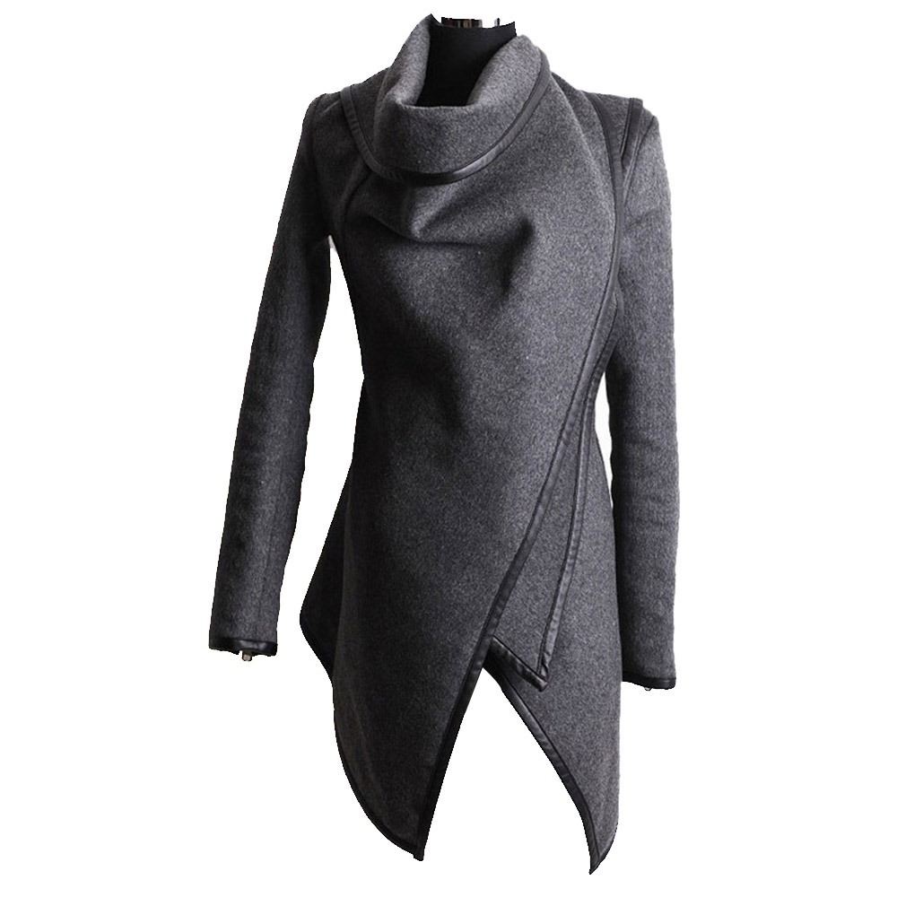 Coats Fall Female Slim High-Street Winter Women Fashion Elegant Warm Casual Gray Plain